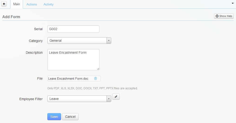 Entries in the Add Form page