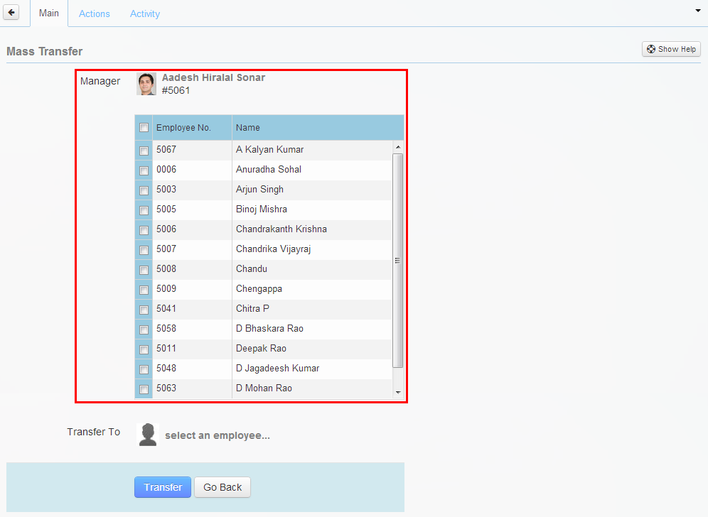 List of subordinates for selected manager