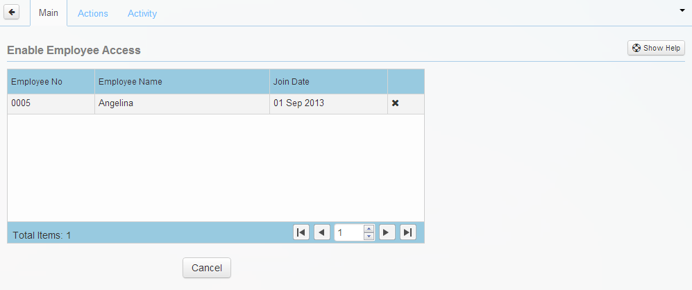 The Enable Employee Access table without selected employee name
