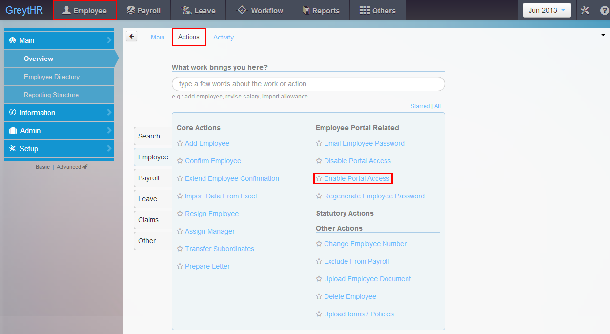 The Enable Portal Access menu in the Actions tab