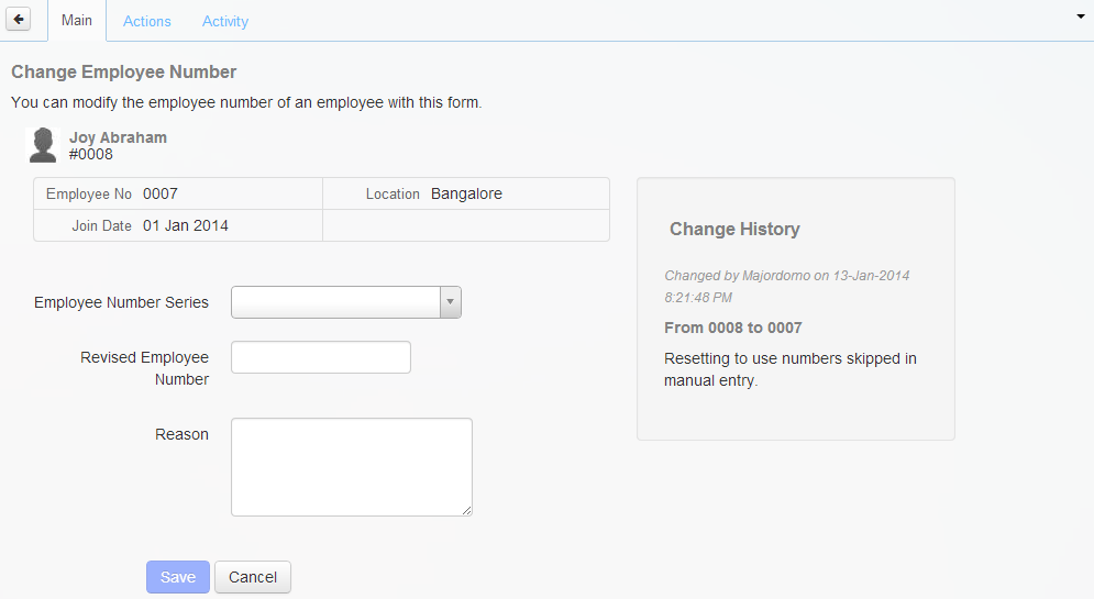 Summary of changes to the Employee Series Number.