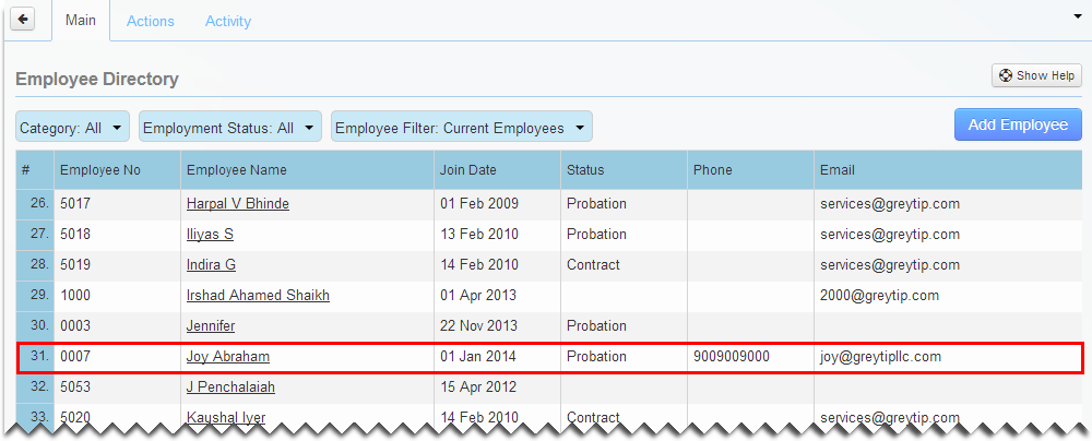 Changed Employee Series Number reflects in Employee Directory.