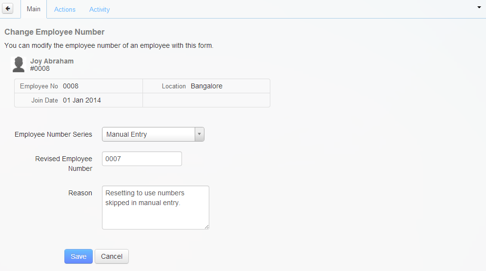 The Change Employee Number page