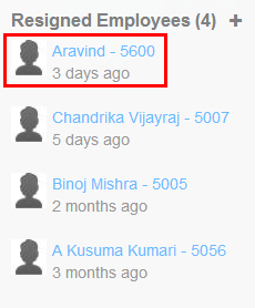 Resigned employee name in the Employee Overview page.