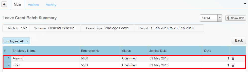 Details of leave granted through scheduler.