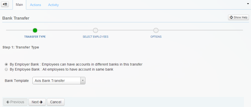 The Transfer Type page of the Bank Transfer wizard.