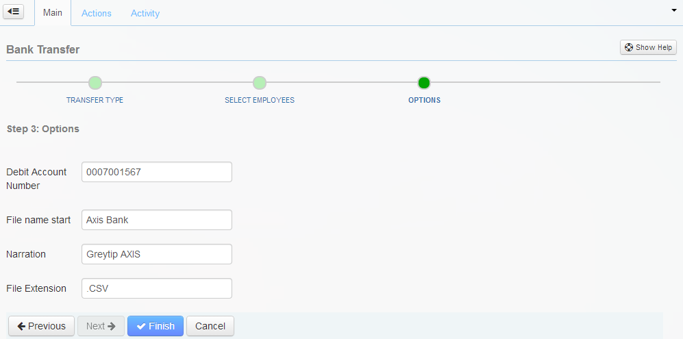 The Options page of the Bank Transfer wizard.
