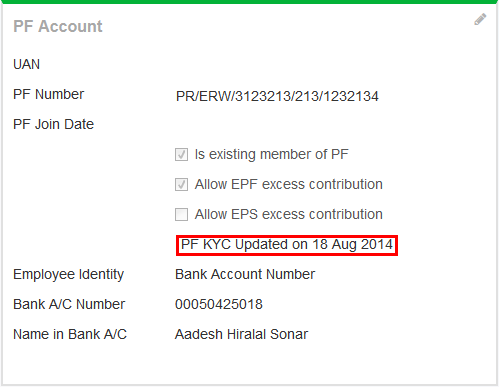 The PF section with PF KYC date stamp.