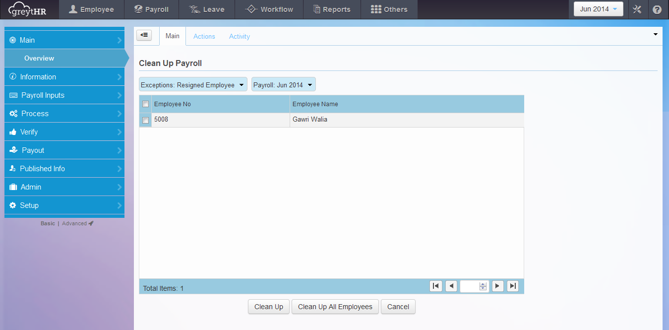 The Clean Up Payroll page.
