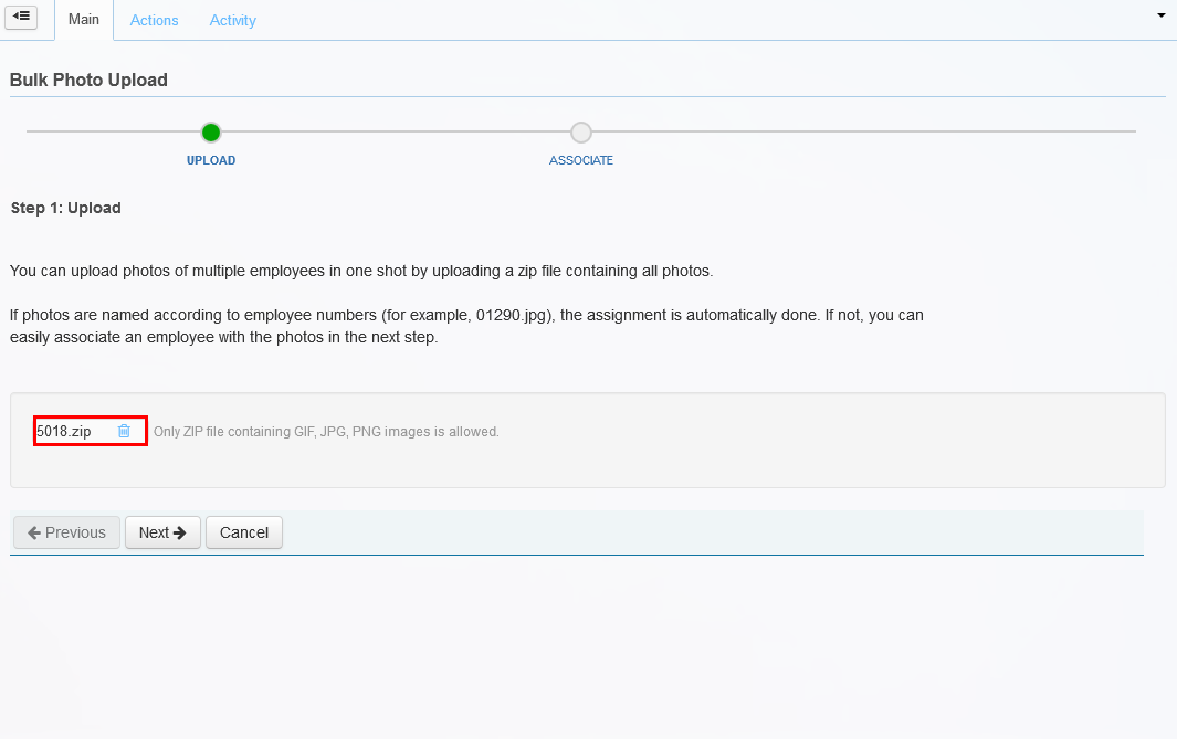 The Upload page of the Bulk Photo Upload wizard.