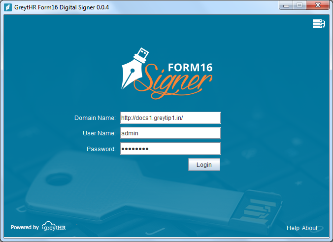 The greytHR Digital Signer login box displays.