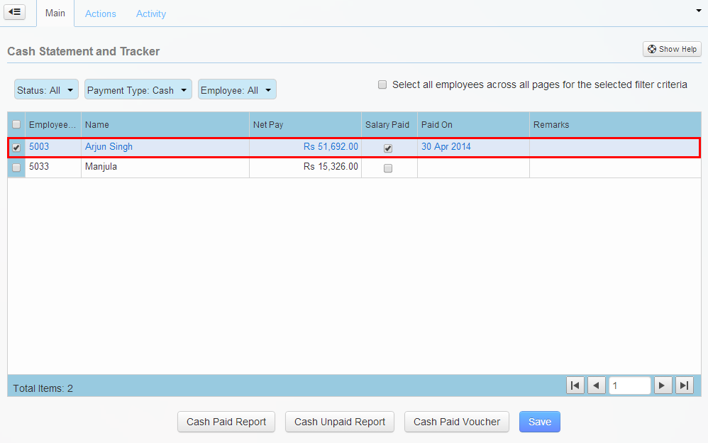 Select employee and salary details for the Cash Paid report.